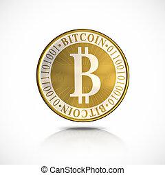 Golden Bitcoin - 3d illustration, isolated on white...