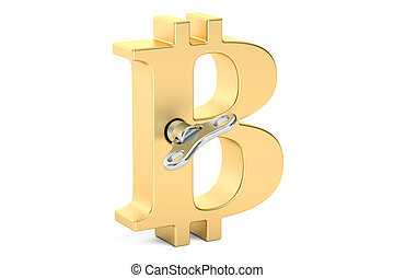 Golden bitcoin symbol with wind-up key, 3D rendering