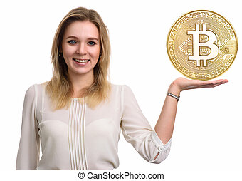 Golden Bitcoin. virtual money. - Beautiful woman showing...