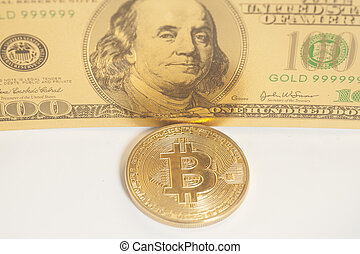Golden bitcoin with U.S. dollar isolated on white