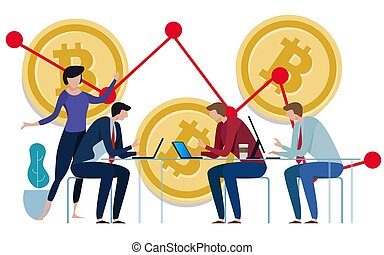 Golden Bitcoins chart down background. Graph of the negative growth of price. team work on investment management monitoring