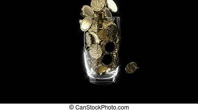 Golden bitcoins fall in a glass Blockchain technology...
