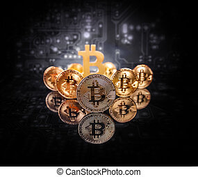 Conceptual image for crypto currency - Golden bitcoins heap...