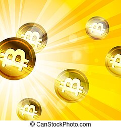 Golden bitcoins in the bright yellow  rays of sun effect backgro