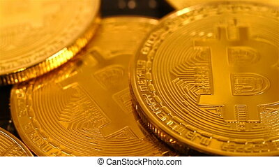 Golden Bitcoins Money. New Virtual Currency. Close Up