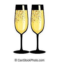 golden black champagne glasses