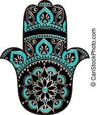 golden black hamsa - drawing of a Hand of Fatima (Hamsa) in ...