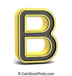Golden, black round font. Letter B