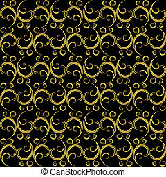 Golden-black seamless pattern