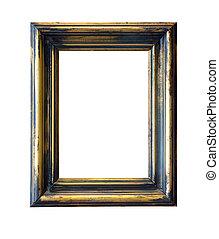 Golden blank frame isolated on white background.
