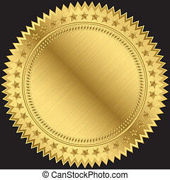 Golden blank label, vector