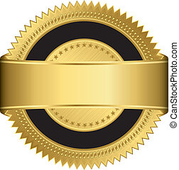 Golden blank label with golden ribbon, vector
