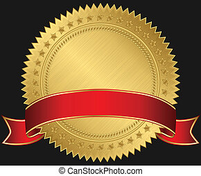 Golden blank label with red