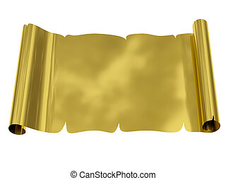 Golden blank sheet of paper with uneven edges isolated on...