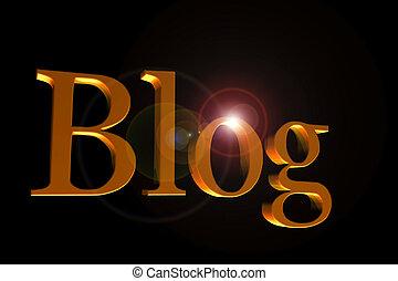 Golden blog header on black - Golden letters forming word...