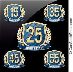 Golden Blue Anniversary Badge 25th - Gold and Blue...