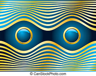 Golden blue eyes - Golden blue  eyes with abstract gold wave
