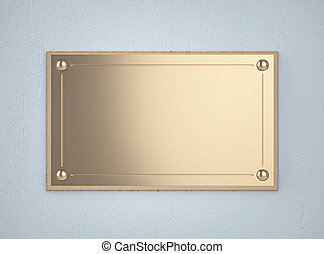 Golden board on the blue wall