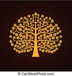 Golden Bodhi tree symbol, vector illustration