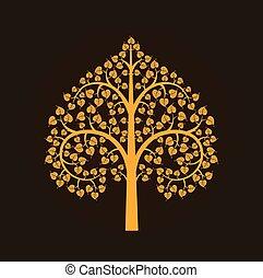Golden Bodhi tree symbol, vector illustration