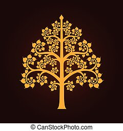 Golden Bodhi tree symbol with Thai style isolate on black background, vector illustration