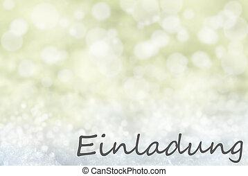 Golden Bokeh Christmas Background, Snow, Einladung Means...