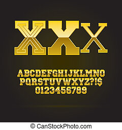 Golden Bold Font and Numbers
