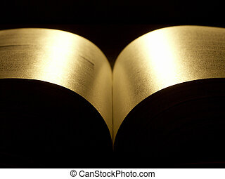 golden book - illuminated golden pages of a bokk opened at...