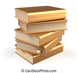 Golden books textbook stack five 5 blank yellow gold icon