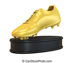 Golden Boot Trophy isolated on white background. 3D render