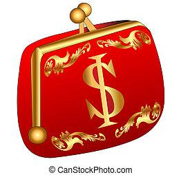 gold(en), borsellino, dollaro, rosso