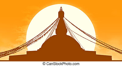 golden Boudhanath Stupa silhouette - golden silhouette of a...