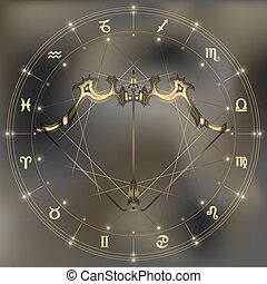 Golden bow and arrow, zodiac Sagittarius sign