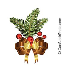 golden bow christmas with leafs and balls