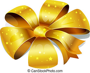 golden bow isolated