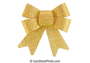 Golden Bow, Isolated On White Background