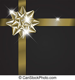 Golden bow on a ribbon with black background
