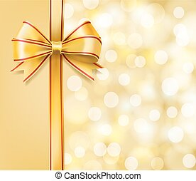 golden bow on blurry bokeh background. vector illustration