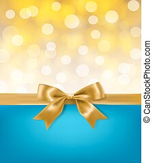 golden bow ribbon on blue and light effects background. vector design template