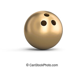 golden bowling ball on white background.