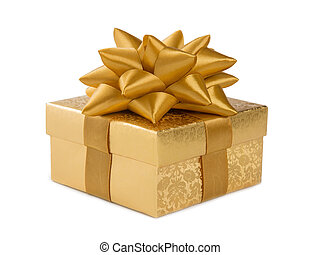 Golden box isolated on a white background