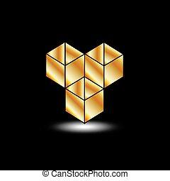Golden boxes- logo for architect