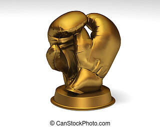 Golden boxing trophy