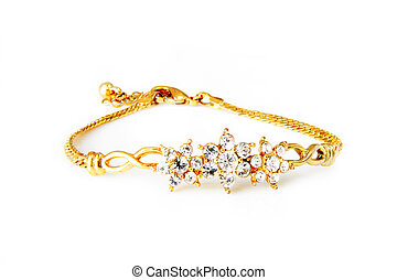 Golden bracelet isolated