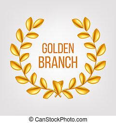 Golden Branch . Gold Laurel Wreath. Award victory Design Element. 3D Realistic Illustration