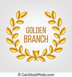 Golden Branch Vector. Gold Laurel Wreath. Award victory Design Element. 3D Realistic Illustration