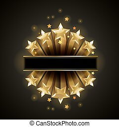 Golden bright shiny stars vector illustration
