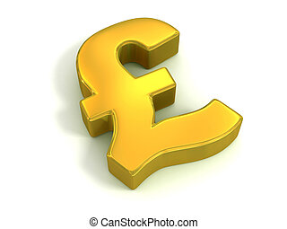 golden British pound symbol isolated on white - currency 3d...