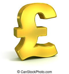 golden British pound symbol isolated on white - currency 3d concept