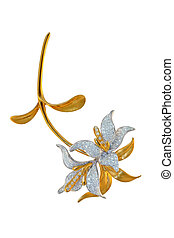 golden brooch with diamonds